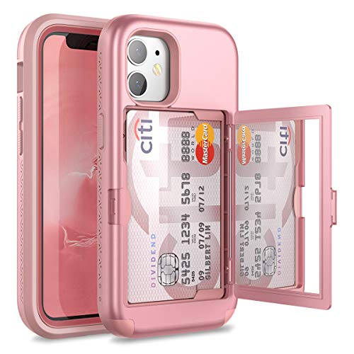 WeLoveCase for iPhone 12 Mini Wallet Case with Credit Card Holder & Hidden Mirror, Defender Three Layer Shockproof Heavy Duty Protection Cover Protective Case for iPhone 12 Mini - 5.4inch Rose Gold