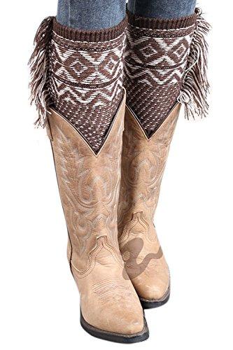 Zilcremo La Mujer De Invierno De Borlas De Bohemia Rodilla Tejida A Crochet Navidad Bota Puños Acolchados Leg Warmers