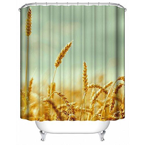 SHENMAHU SHOP Benutzerdefinierte Duschvorh?nge Sch?nes goldenes Weizen-Feld Badezimmer wasserdicht Polyester Stoff Duschvorhang 36