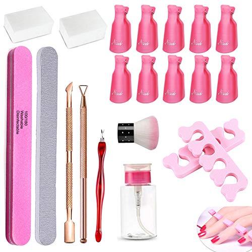 Nagellackentferner Tools Kit mit Nagelclips Kappen,10xNagel Klammer,200x Nagel Pads,Pinsel,2-in-1...