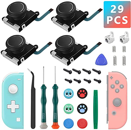Joysticks Analogiques 3D, Arozxin Joystick de Remplacement pour Manette Joy-Con Nintendo Switch, 4 Capuchons Stick Remplacement avec Tournevis et Tri-Wing à épiler, 29 Pièces Outils de Réparation Kit
