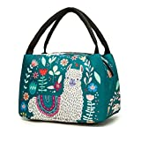 Noeoprene Lunch Bags Reusable Insulated Tote Llama Lunchbox Containers for Women Men Adults Kids Zipper Closure Alpaca-New
