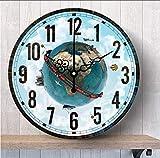 TTbaoz Diámetro 14 Pulgadas Mapa del Mundo Reloj de Pared Tierra Silenciosa Cocina...