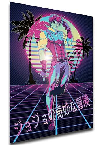 Instabuy Poster - Vaporwave 80s Style - JoJo's Bizarre Adventure - Battle Tendency - Joseph Joestar Manifesto 70x50