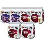 Tassimo Coffee Selection - Costa Latte/Costa Cappuccino/Cadburys Hot Chocolate -6 Packs (48 Servings)
