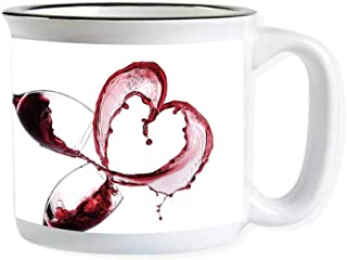 Wine Imitated Enamel Ceramic Cup,Heart Shape with Spilling Red Wine in Glasses Romantic Valentines Day Concept Decorative for Office,3.9