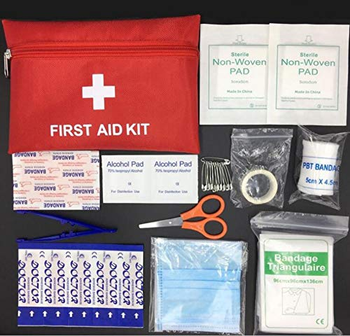 Ungfu Mall 1 Set (32PCS) Mini Kit di Pronto Soccorso Kit di Emergenza Esterna Borsa Medical Essentials D-Ring Moschettone Hook
