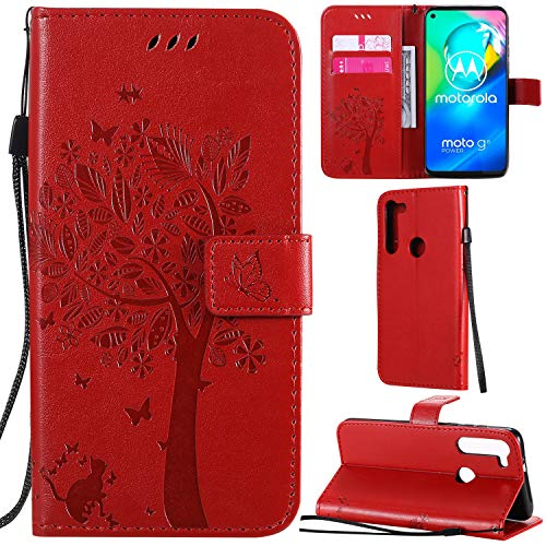 DodoBuy Motorola Moto G8 Power Hülle Katze Baum Muster Flip PU Leder Schutzhülle Handy Tasche Hülle Cover Standfunktion mit Kartenfächer für Motorola Moto G8 Power - Rot