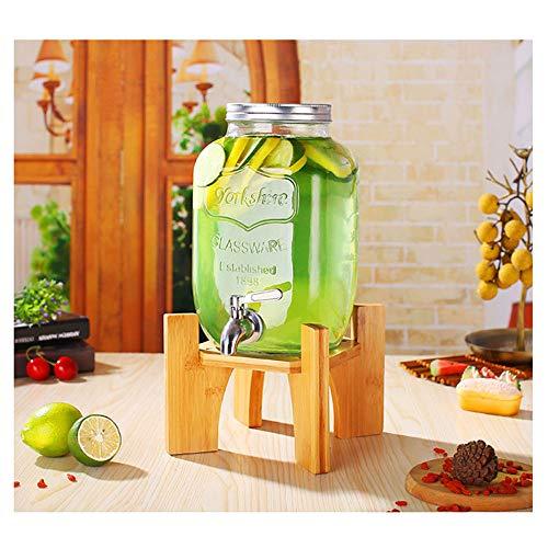 XINKAI Dispensador De Bebidas Jarra De Vidrio Transparente con Grifo Dispensador De Agua Recipiente De Vidrio De Jugo De Gran Capacidad Dispensador De Cerveza DIY(Size:5L,Color:Soporte de bambú)