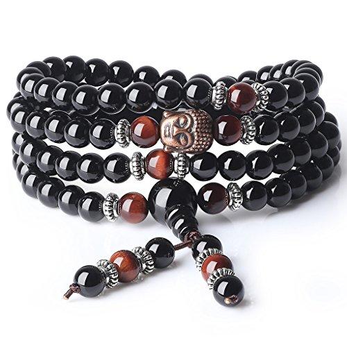 COAI Bracciale Collana 108 Perle Mala in Onice e Occhio di Tigre Rosso con Inserto Testa del Buddha, Bracciale Rosario da Preghiera in Pietre Naturali