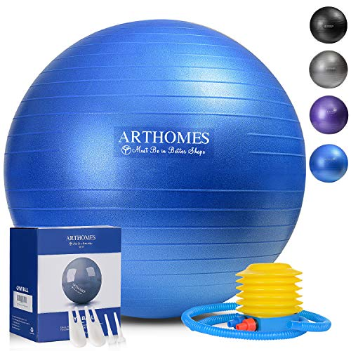 ARTHOMES Exercise Ball, 65cm Anti-Burst and Slip Resistant Yoga Ball Fitness Ball Birthing Ball Yoga Ball Chair Supports 1100lbs, Stability Balance Ball with Quick Pump and Workout Guide