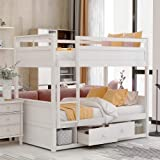 Solid Wood Twin Over Twin Bunk Bed for Kids with Two Drawers and Two Storage,with Ladder and Safety Rails, No Box Spring Needed
