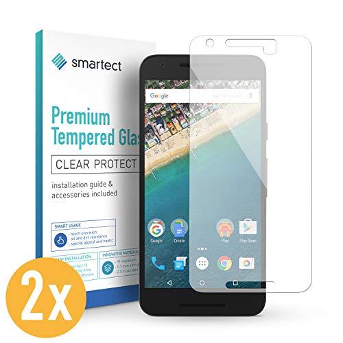smartect Panzerglas kompatibel mit LG Google Nexus 5X [2 Stück] - Displayschutz mit 9H Härte - Blasenfreie Schutzfolie - Anti Fingerprint Panzerglasfolie