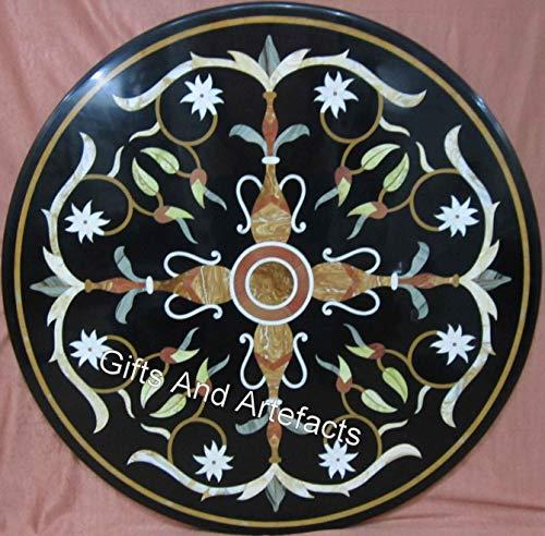 Mesa central negra de mármol con diseño de mosaico de Cottage Crafts de 30 pulgadas