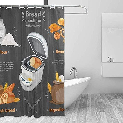 GABRI Brotmaschine Frisches Mehl Süßigkeiten Duschvorhang Set für Zuhause Polyester Wasserdichter Stoff Badezimmer mit Haken 36x72 inch