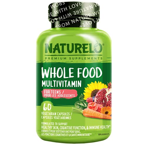NATURELO Whole Food Multivitamin for Teens - Natural Vitamins/Minerals for Teenage Boys & Girls - Supplement for Active Kids - with Organic Extracts - Non-GMO - Vegan/Vegetarian - 60 Capsules