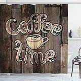 ABAKUHAUS Moderno Cortina de Baño, La Hora del café de Grunge Volver, Material Resistente al Agua Durable Estampa Digital, 175 x 200 cm, Umber Crema de Cacao