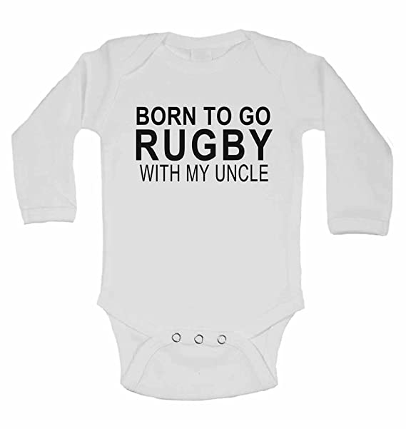 Born to Go Rugby with My Uncle Personalised Cotton Baby Bib for Boys /& Girls