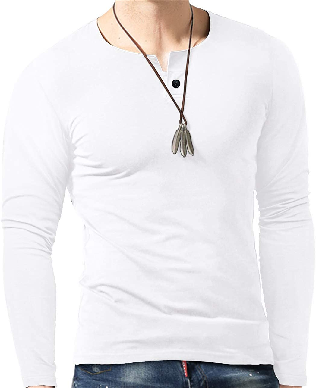 BblyThe Mens Fashion Casual Slim Fit Basic Henley Solid Color Long Sleeve Lightweight T-Shirt