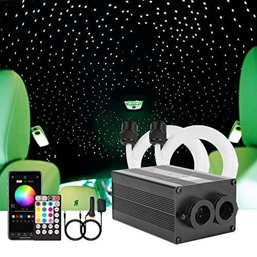 CHINLY Bluetooth 12W RGBW Twinkle LED Glasfaser Stern Deckenleuchten Kit APP / Fernbedienung Gemischt 400pcs * (0.5+0.75+1.0mm) für Zuhause / Auto