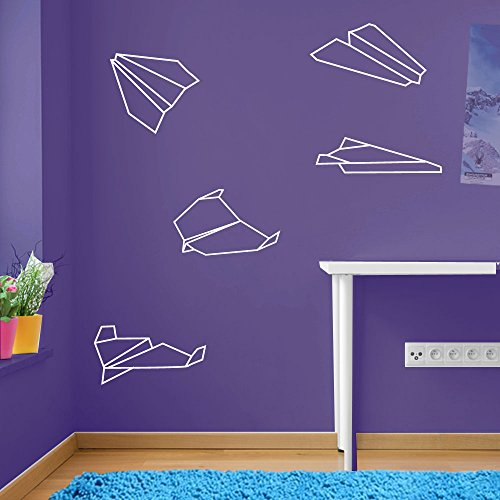 ENFANTS Avion Avion Avion de 2 décorations murales Stickers pour fenêtre Décoration murale Stickers muraux Décoration murale Stickers muraux Stickers Autocollant mural Stickers panoramique Décor DIY Deco amovible Stickers muraux colorés stickers, Vinyle, 17 - White, Large Set