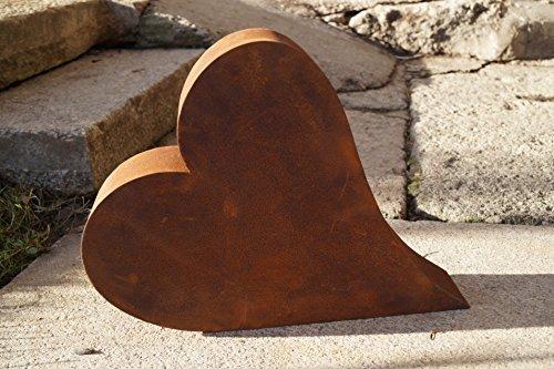 Rostalgie Edelrost Herz liegend groß 3D Garten Terrasse Geschenk Metall 39x31x8cm