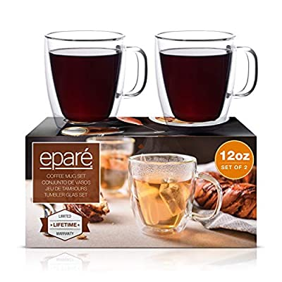 Eparé 12 oz Glass Mug - Strong Double Wall Insulated Glassware for Coffee Tea (Set of 2)