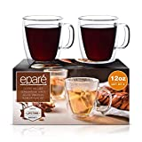 Eparé Coffee Mugs - 12oz Set of 2 Clear Glass Double Wall Cup - Insulated Glassware - Large Espresso Latte Tea Glasses