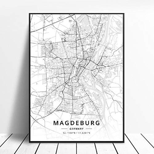 lubenwei Alle Magdeburg Bielefeld Remscheid Kiel Karlsruhe Deutschland Leinwand Kunst Karte Poster 50x70cm Kein Rahmen AQ-546