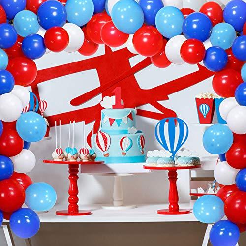 Zsroot 100 PCS Red White Blue Light Blue Balloon Garland Kit ,16ft Balloon Stripe Tape for Birthday Anniversary Wedding Superhero Themed Party Decor