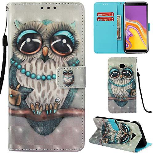 Ooboom Samsung Galaxy J4 Core Hülle 3D Flip PU Leder Schutzhülle Stand Handy Tasche Brieftasche Wallet Hülle Cover für Samsung Galaxy J4 Core - Eule Grau