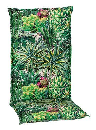 Beo Gartenstuhlauflagen Hochlehner UV-beständig Turin   Made in EU Premium-Qualität   Hochlehner Auflagen waschbar   Atmungsaktive Stuhlauflagen Hochlehner mit Kaktus-Muster in Grün