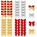 TUPARKA 48 Pieces Christmas Ribbon Bows Ornaments Xmas Tree Bowknot Decoration Presents Wrapping Craft Supplies(4 Colours)