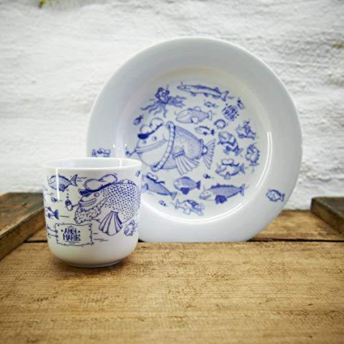Kaffeebecher und Teller Set - Motiv Fische - Maritime Porzellan-Tasse und Teller original aus dem Norden