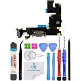 OmniRepairs Charging USB Dock Port Flex Cable Replacement with Microphone and Headphone Audio Jack Compatible for iPhone 6 Plus Model (A1522, A1524, A1593) with Premium Repair Toolkit (Space Gray)