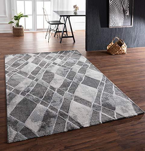 onloom Alfombra Marvellous a cuadros, moderna alfombra tejida en diseño de cuadros en varios tamaños, resistente, color: gris, tamaño: 80 x 150 cm