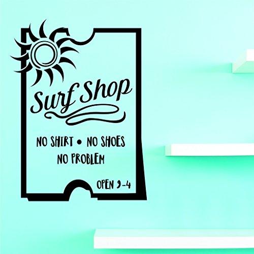 Motif Vinyle Avec 1 Recharges de 2022 1 Hot nouveaux autocollants Surf Shop sans Chemise sans Chaussures pas de problème Art mural Taille : 25,4 x 50,8 cm Couleur, 25,4 x 50,8 cm, Noir