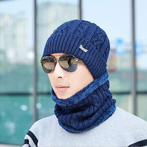 SunAll Winter-Hut-Schal Set Wool Cap Soft-Stretch Strickmützen Warm Strickmützen Schädel-Kappe Neck Warmer Hut Racing Cap Outdoor Sports Hat & Schal und Handschuhe for Männer Frauen (Color : Blau)
