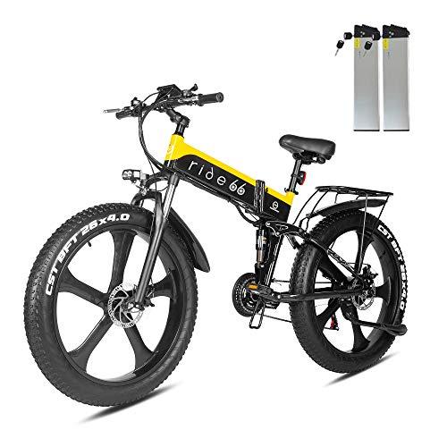 ride66 e Bike Mountainbike elektrofahrrad klapprad 26 Zoll Doppelbatterie 1000W ebike für Damen Herren (Schwarz-Gelb)