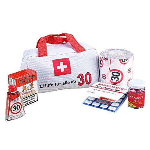Lustapotheke® Erste Hilfe Koffer für die Frau und den Mann zum 30. Geburtstag (6-teilig) als Geschenkidee
