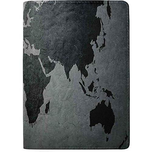 Mapa del Mundo de Color Negro en Imagen de Muro de hormigón...