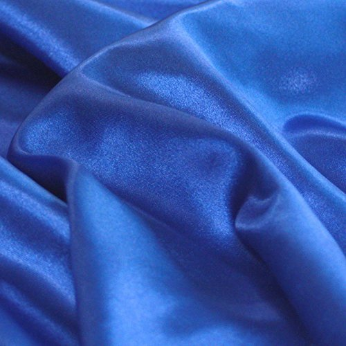 TOLKO Glanz Satin Modestoff/Deko-Stoff/Kostümstoff als Meterware zum Nähen, Dekorieren und Basteln (Royal-Blau)