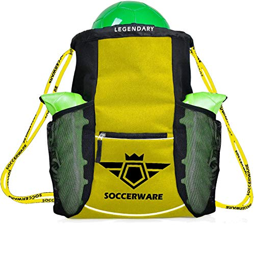 Fußball-Rucksack – zum Organisieren von Sport- und Fitnessgeräten – (gelb)