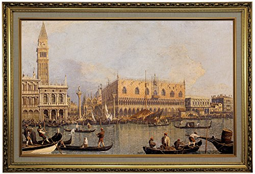 Historic Art Gallery View of The Ducal Palace in Venice by Canaletto Framed Canvas Print, Size 19x30, Gold