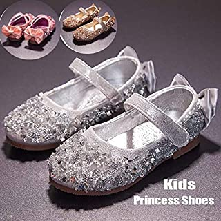 Children Princess Sandals Elegant Kids Girls Wedding Shoes Gold Dress Leather Shoes Party Shoes for Girls(Silver,30)