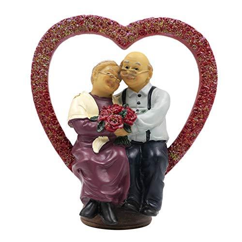 Aoneky Figura de Aniversario de Bodas - Figura de Pareja de Ancianos en Corazón, Decoración de 40/50/60/70 Aniversario de Bodas, Regalo Original para Padres Abuelos Ancianos, Estatua de Resina
