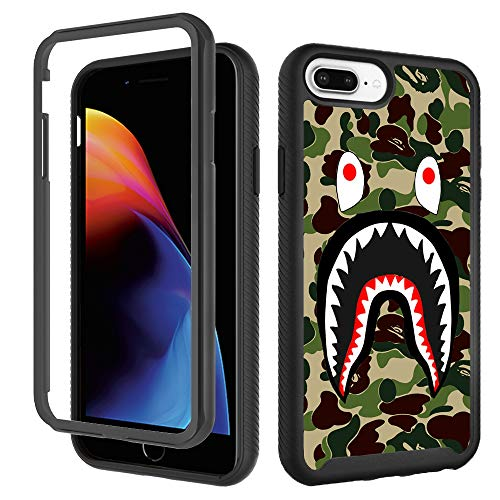 Case for iPhone 6 Plus 6s Plus, Fashion Luxury iPhone 8 Plus Case, Cool Army Green Shark iPhone 7 Plus Case for Boys Men Designer Rugged Dual Layer Bumper Full-Body Protective Cover 5.5 inch