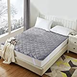 LUXEAR Mattress Pad, Unplugged Warm Storage Anti-Static Mattress Topper with Japanese Warm Heating & Storage Technology, Warm, Soft, Quite, Keep Heat All Night, Perfect for Winter-Queen Size/Gray