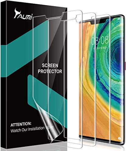TAURI 3 Pezzi Pellicola Protettiva per Huawei Mate 30 PRO Mate 30 PRO HD Trasparente Morbido TPU Pellicola Compatibile con la Custodia Installazione Facile Senza Bolle