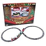 BSTTAI Ferrovia Natalizia con Locomotiva, ferrovia elettrica Mini Trenino Natalizio di Babbo Natale, Binario Ferroviario Treno Natalizio con luci e Suoni